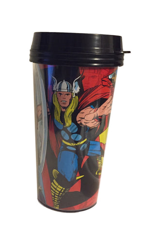 Marvel Super Hero Action Sturdy Plastic Travel Mug Snap Lid Slide Sip Area Thor