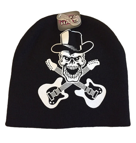 Poison Band Skull Crossed Guitars Beanie Skull Cap Black Knit Hat Licensed. NWT