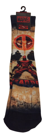 Marvel Comics Deadpool Adult Size Premium All Over Print Crew Socks
