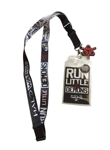 Halo Wars 2 Run Little Demons Lanyard Badge ID Holder with Charm / Sticker 2017
