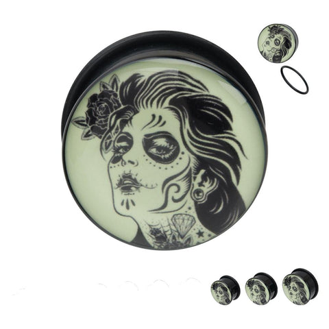 Day Of The Dead Glow In The Dark Single Flared Black Acrylic Plugs With O Rings