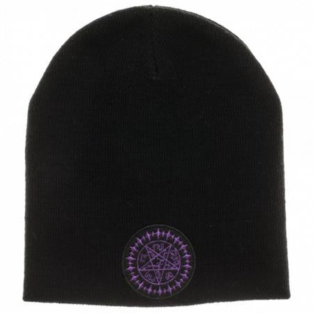 Black Butler Kuroshitsuji Seal Patch Logo Black Knit Beanie Hat