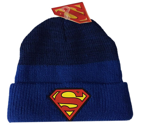 DC Comics Superman PVC Patch Style Logo Cuff Knit Beanie Winter Hat