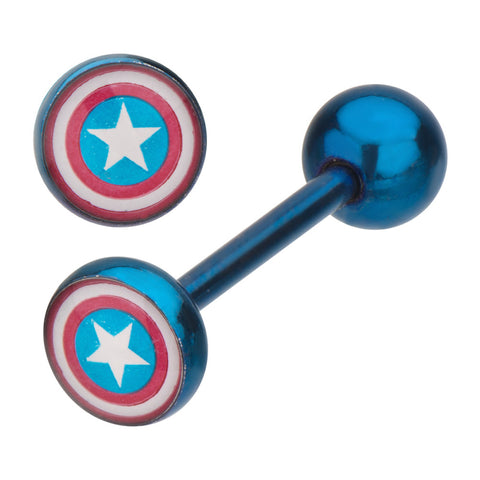 Captain America Shield Titanium Plated Blue Stainless Steel Barbell Marvel