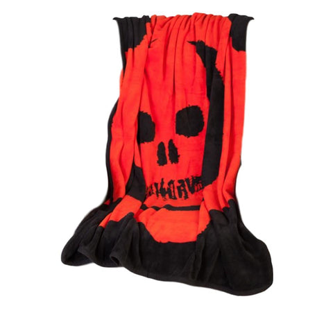 Gears Of War Skull Red Omen on Black Soft Polyester Throw Blanket