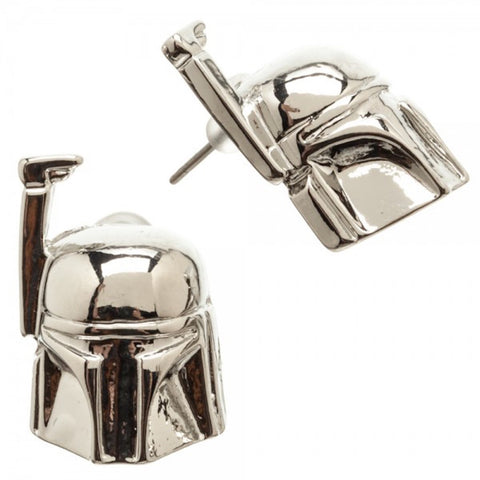 Star Wars Boba Fett 3D Stainless Steel Stud Earrings