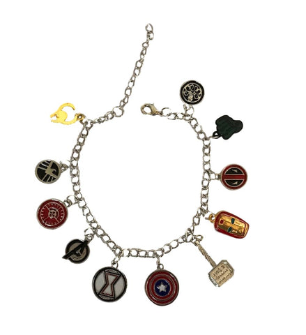 Avengers and Deadpool 11 Themed Enamel Charms Metal Charm Bracelet