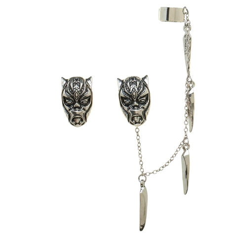 Black Panther Metal Stud Earrings with Ceremonial Mask Ear Cuff