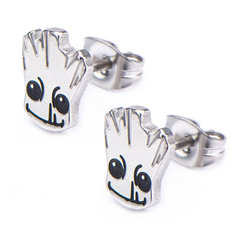 Marvel Comics Guardians Of The Galaxy Groot Metal Stud Stainless Steel Post Earrings