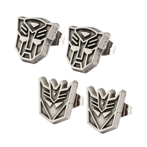 Transformers Autobot and Decepticon Antique Nickel Stud Earrings Set of 2 Pair