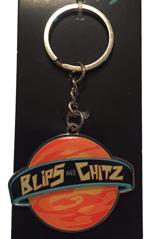 Rick and Morty Logo Blips and Chitz Enamel Metal Keychain Key Ring Adult Swim