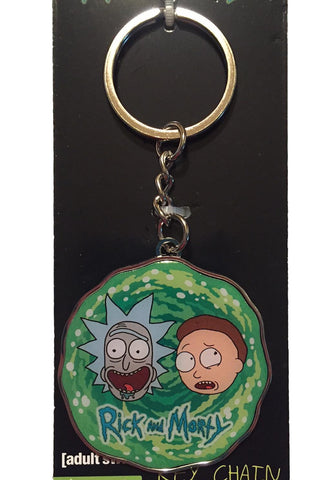 Rick and Morty Logo Portal Enamel Metal Keychain Key Ring Licensed Adult Swim