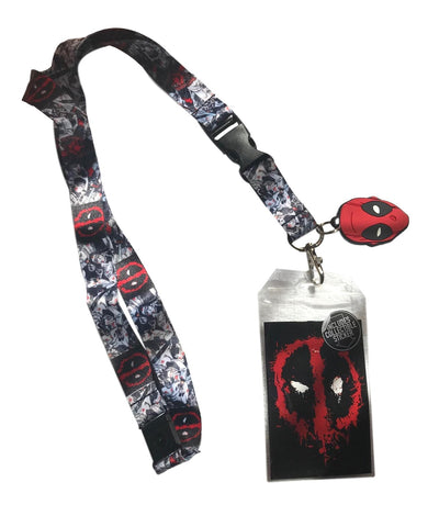 Deadpool AOP Splatter Lanyard Keychain ID Badge Holder With Charm and Sticker