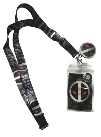 Deadpool XForce Logo Lanyard Keychain ID Badge Holder With Charm and Sticker