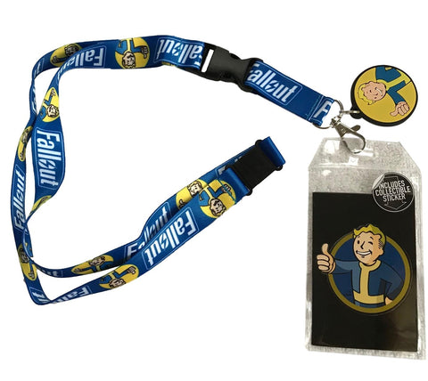 Fallout Pip Boy Lanyard Id Holder With Charm, Collectible Sticker and Key Fob