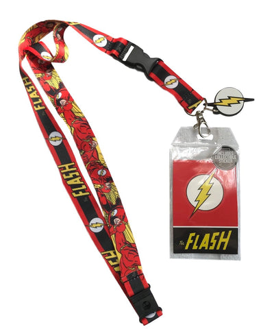 The Flash D/S Design Lanyard Id Holder W/ Lightning Charm, Key Fob & Sticker