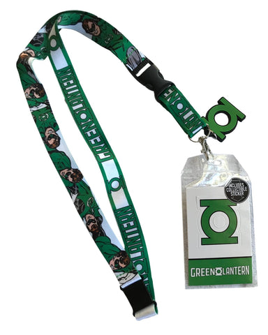Green Lantern D/S Design Lanyard Keychain ID Badge Holder With Charm and Sticker