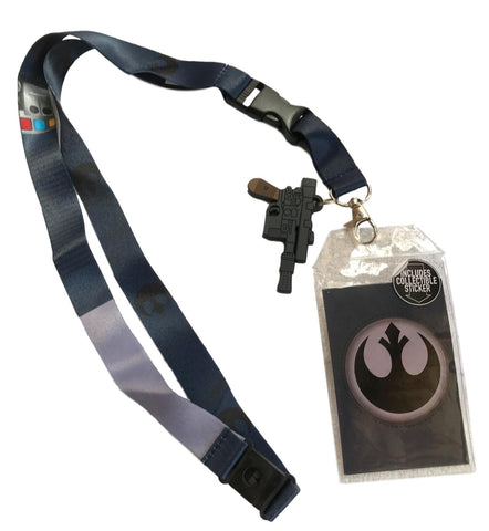 Star Wars Lanyard ID Holder Han Solo Blaster Charm, Collectable Rebel Sticker & Key Fob