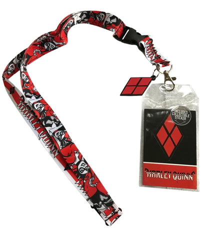 Harley Quinn D/S Design Lanyard Id Holder W/ Harley Charm, Key Fob & Sticker