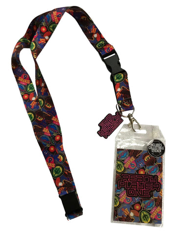 Ready Player One All Over Print Lanyard Keychain ID Badge Holder With Charm
