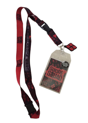 Suicide Squad Goodnight D/S Lanyard Keychain ID Holder W Harley Charm & Sticker