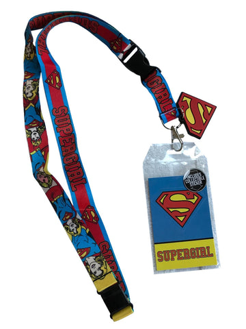 Supergirl Doublesided Lanyard Keychain ID Badge Holder With Charm and Sticker