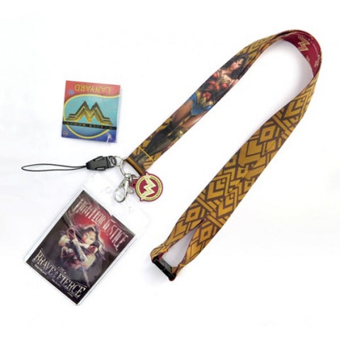 Wonder Woman Fight For Justice Lanyard Keychain ID Holder Screen Cleaner Dangle