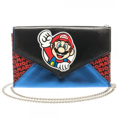 "Nintendo Super Mario Character Logo Stylish Envelope Wallet Purse 48"" Chain"