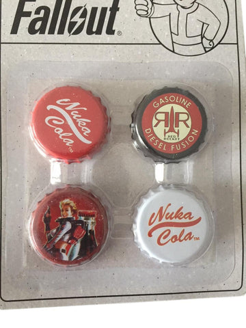 Fallout Nuka Cola Set of 4 Different Bottle Cap Magnets