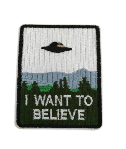 I Want To Believe UFO Spaceship Embroidered Cosplay Costume Iron On Patch