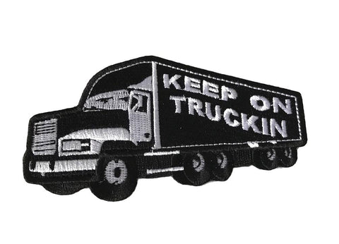 Keep on Truckin White on Black Stitch Iron On Cosplay Biker Trucker Patch