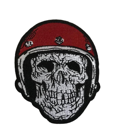 Red Helmet Skeleton Cosplay Steampunk Biker Iron On Patch