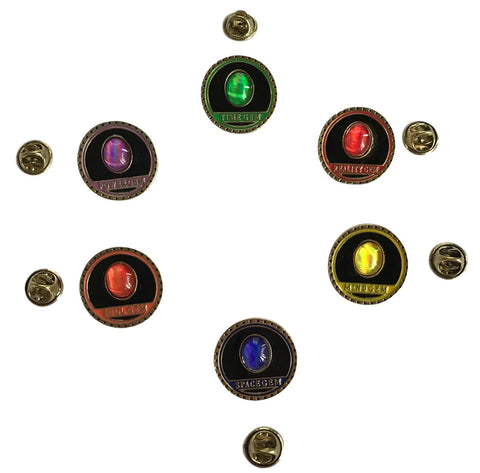 Avengers Infinity Gauntlet Power Stones Gems Set of 6 Enamel Finish Metal Pins