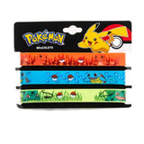Pokemon Slim Silicone PVC Wristband Set Charmander Squirtle Bulbasaur Set of 3