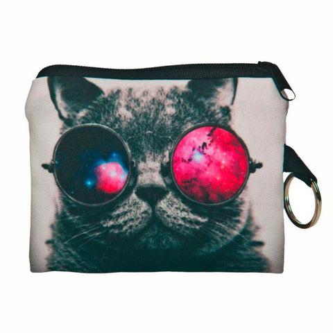 Cute Cat Face Zipper Case Coin Purse Makeup Bag Clutch Wallet With Key ring