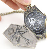 The Nightmare Before Christmas Jack Skellington Coffin Pocket Watch Pendant Necklace