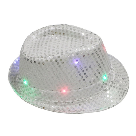 Flashing LED Hat Jazz Hats with Glitter Sequins Party Adult Size Hat You Pick Color