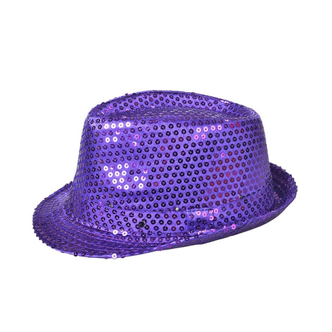 f420d92e345 ... Flashing LED Hat Jazz Hats with Glitter Sequins Party Adult Size Hat You  Pick Color ...