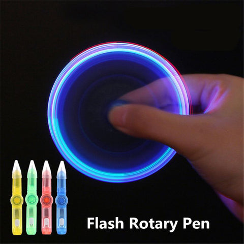 LED Ball Point Pen Fidget Spinner Glow In Dark Light Up Pen!