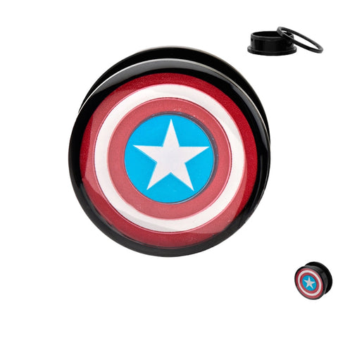 Captain America Shield Screw Fit Ear Acrylic Plugs Gauges 0G Body Jewelry Marvel