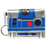 Star Wars R2-D2 Tri-Fold Metalic Tri Fold Wallet With Attached Key Ring Disney