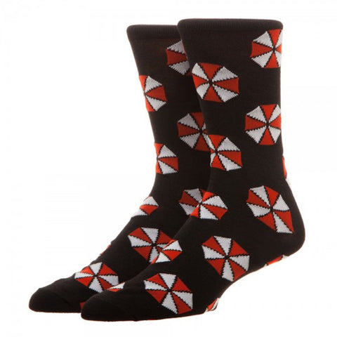 Resident Evil Umbrella Corp Repeat Design Men's Black Crew Socks