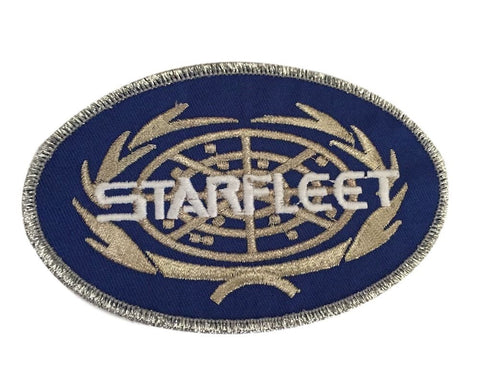 Star Trek Starfleet Name Logo Silver Bordered Embroidered Iron On Patch