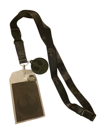 Star Wars Rogue One Rebel Black Lanyard Keychain w/ Sticker and Rebel Charm