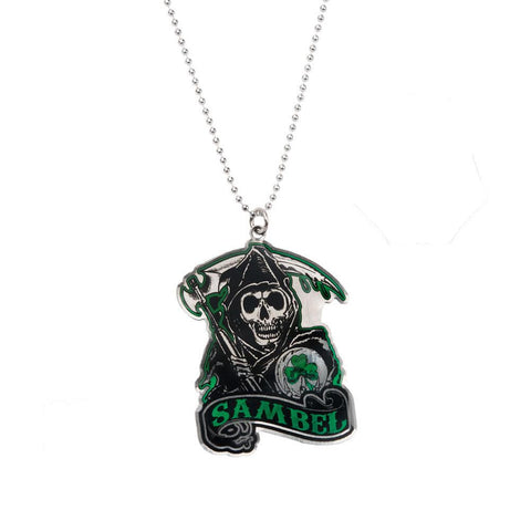Sons of Anarchy Green Sambel Reaper Metal Pendant Pewterball Chain Necklace