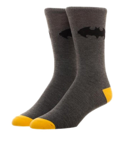 Batman Bat Symbol Gray Crew Socks Adult Size NWT