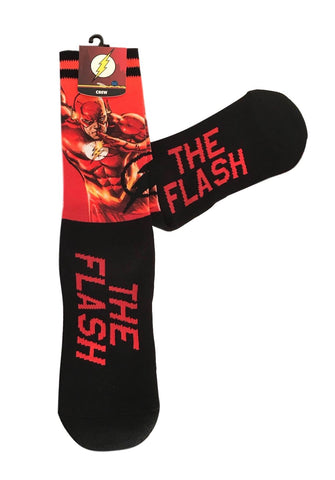 The Flash Comics Superhero AOP Crew Socks Adult Size NWT
