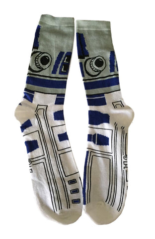 Star Wars R2-D2 Droid AOP Blue and White Adult Sized Crew Socks