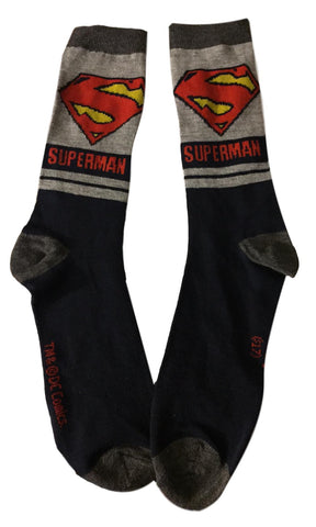 Superman Shield and Logo Men's Adult Size Crew Socks DC Comics
