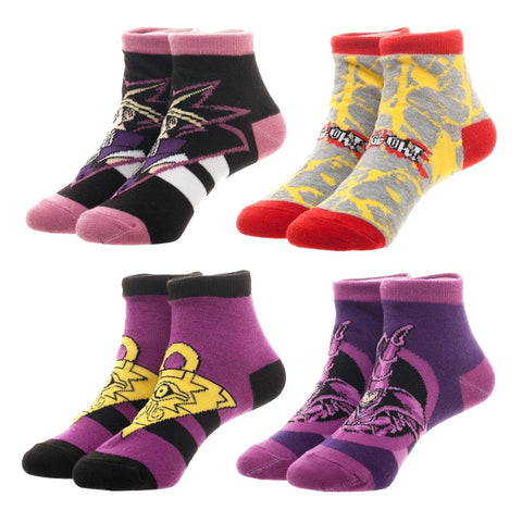 Yu-Gi-Oh! Set of 4 Pair Pedi Ankle Socks Youth Size Set of 4 Yugioh NWT Socks